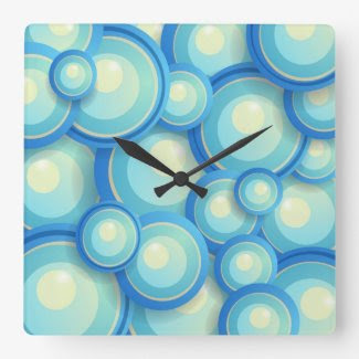 Abstract blue in green clock