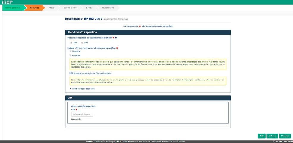 Enem 2017 - solicitação de atendimento específico no exame (Foto: Reprodução/Inep)