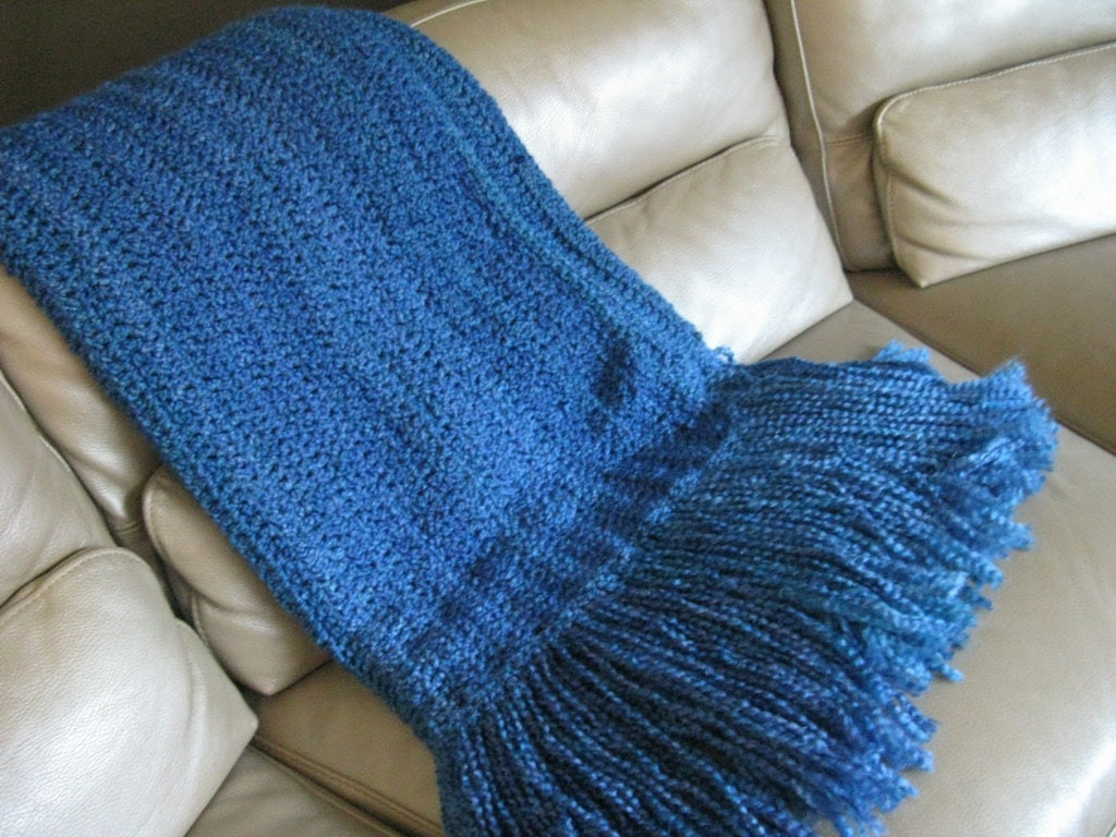 Cozy Home Crochet Afghan - Lapgan - Blue - Made to order
