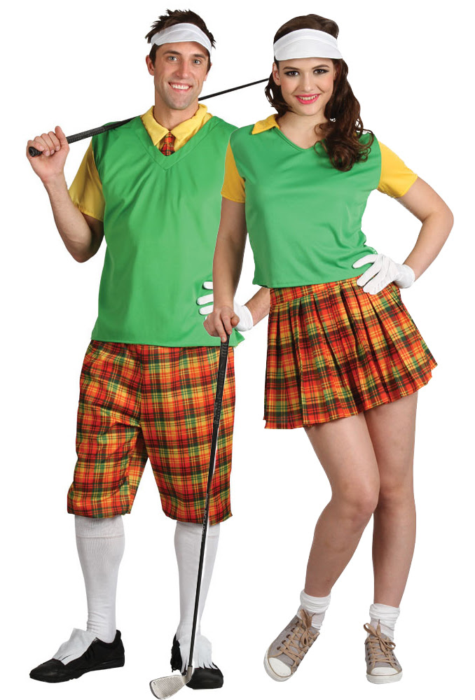 mens  ladies golfer sports fancy dress pub golf adult