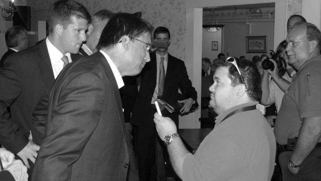 Governor Pat McCrory and WRGC Reporter Donovan Justice ©2013 Bobby Coggins