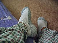 Socks being worn on feet