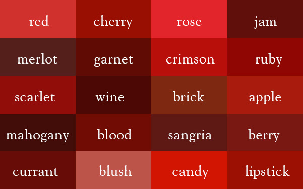 Color Thesaurus / Correct Names of Shades of Red