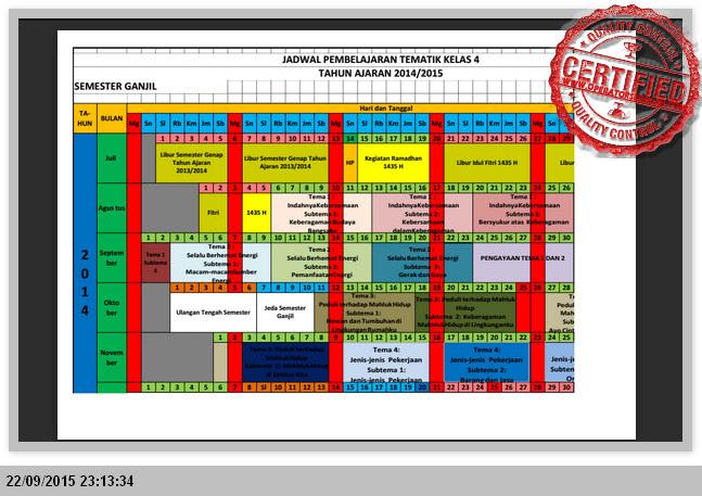 CONTOH JADWAL PEMBELAJARAN KELAS 1, 2, 4, 5 KURIKULUM 2013 MICROSOFT EXCEL