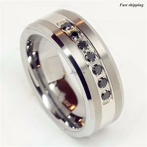 luxury best Tungsten Ring Black Diamonds Mens Wedding Band