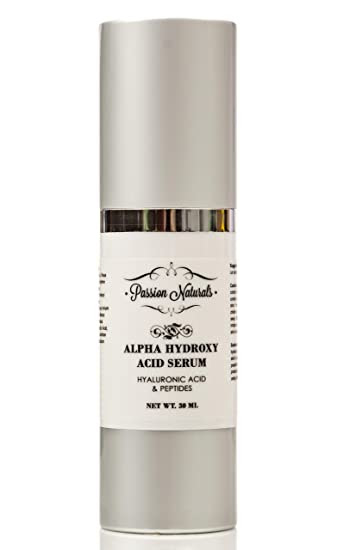 Best Face Night Cream for Wrinkles Fine Lines Uneven Skin Tone - With Glycolic Acid Lactic Acid Peptides Hyaluronic Acid & Fruit Extracts - L-Arginine - Passion Naturals Alpha Hydroxy Acid Serum