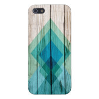 Wood iPhone 5 case chevron geometric mint