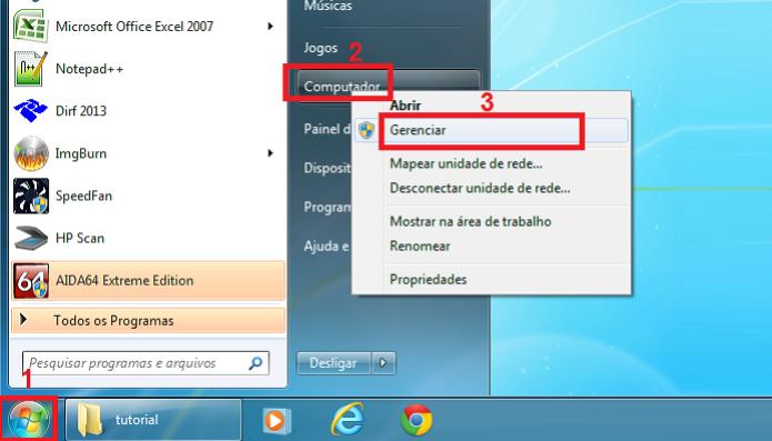 Acessando o gerenciamento do computador no Windows (Foto: Reprodução/Edivaldo Brito) (Foto: Acessando o gerenciamento do computador no Windows (Foto: Reprodução/Edivaldo Brito))