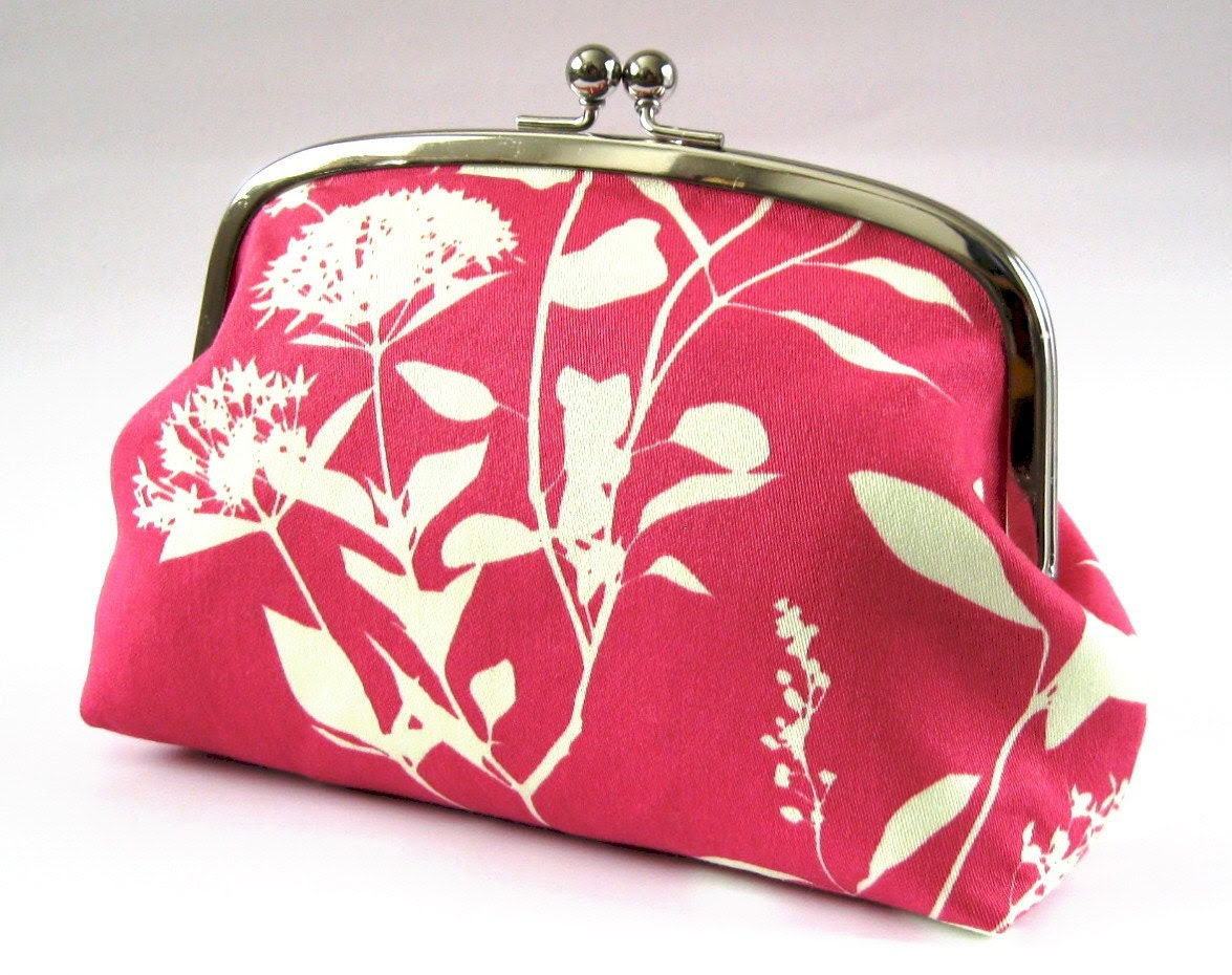 XL pouch - white plants on bright pink