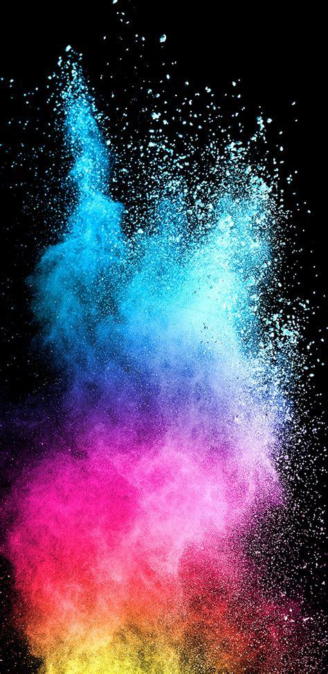 abstract colorful powder  dark background  samsung