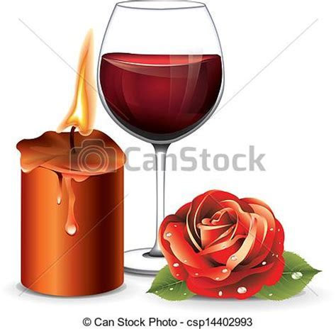 Candle rose wine vector.
