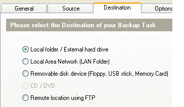 Fig: Backup Windows 7 - Select the Destination Directory