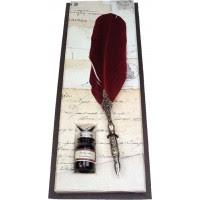 Pluma Ave Escritura Antigua Con Tinta Rubinato Granate