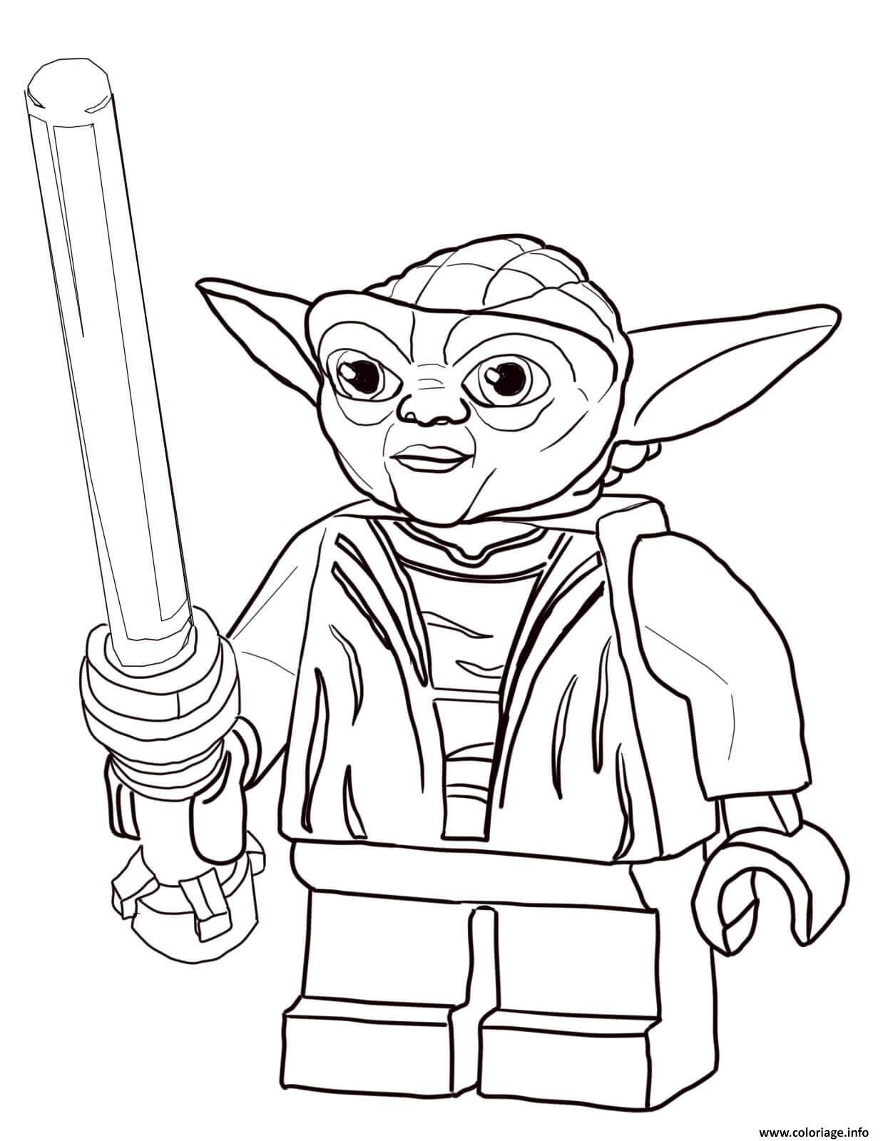 Coloriage Lego Star Wars Master Yoda Jecoloriecom