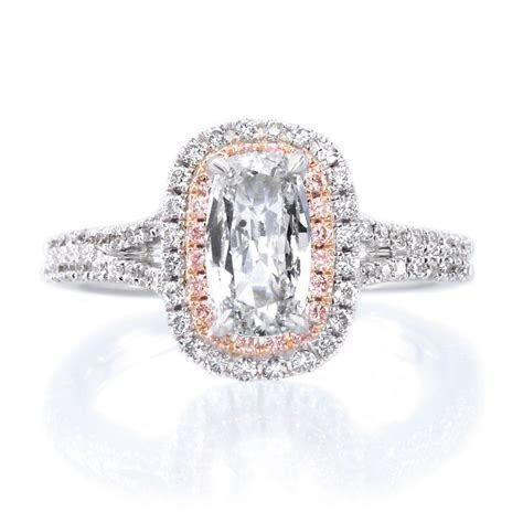 Henri Daussi 18K White Gold Double White & Pink Diamond