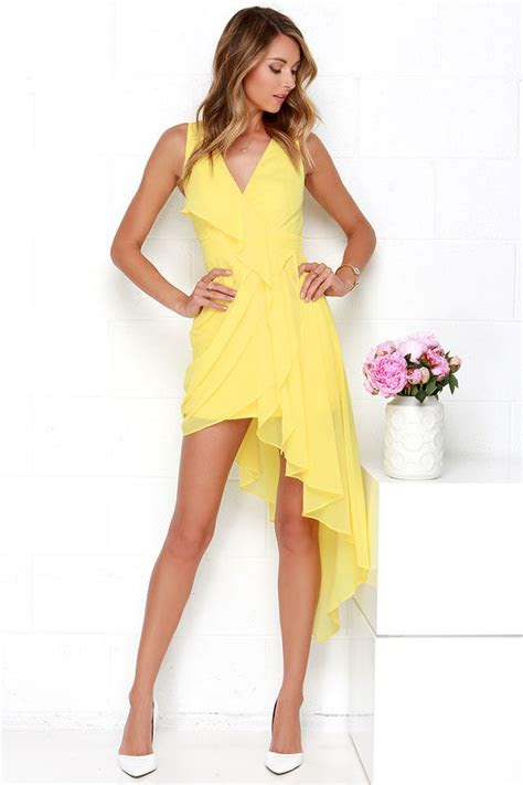 lovely yellow dress wrap dress high  dress