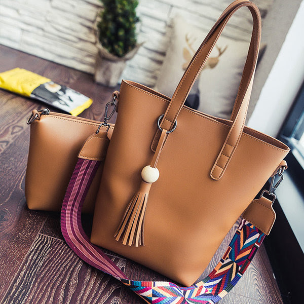 Women 2PCS Elegant Stylish Creative Strap Handbag Crossbody Bags Shoulder Bags