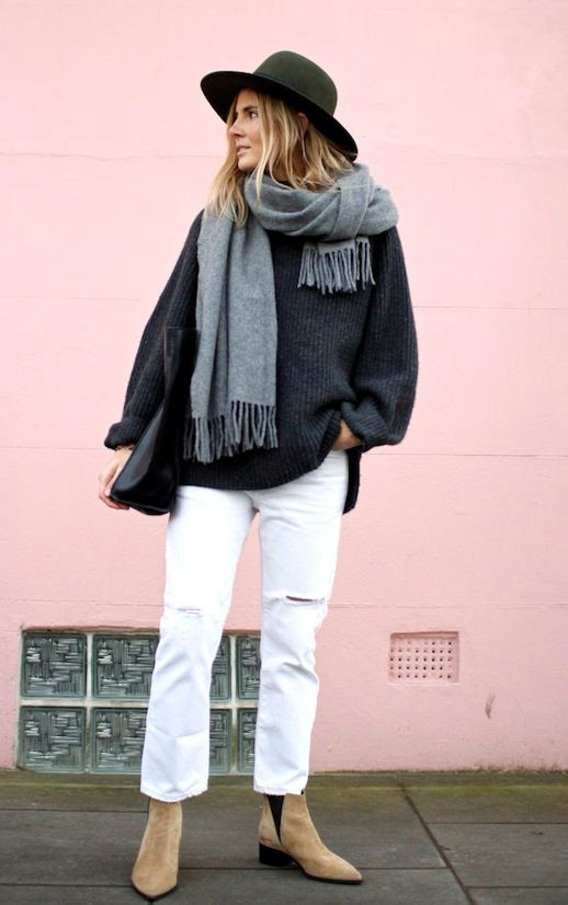 Le Fashion Blog Winter Style Olive Fedora Oversized Scarf Slouchy Sweater White Distressed Denim Acne Studios Ankle Boots Via Fashion Me Now