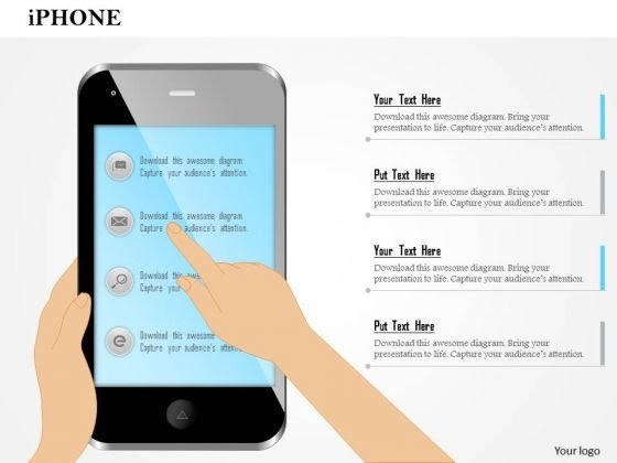 Business Diagram Editable Image Of Iphone With Finger Showing ...
