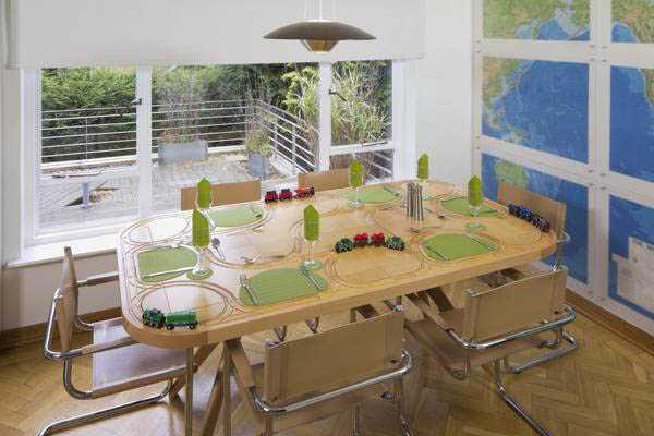 TrackTile Table Designs with Railroad Tracks for Food Trains