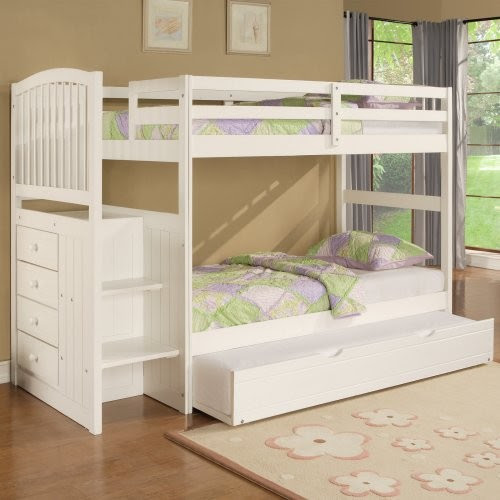 Angelica Twin over Twin Bunk Bed with Storage Stairs - traditional ...