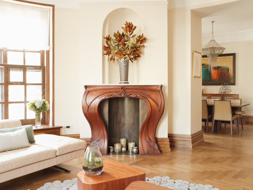 Baroque Fireplace Mantel Kits In Living Room Transitional