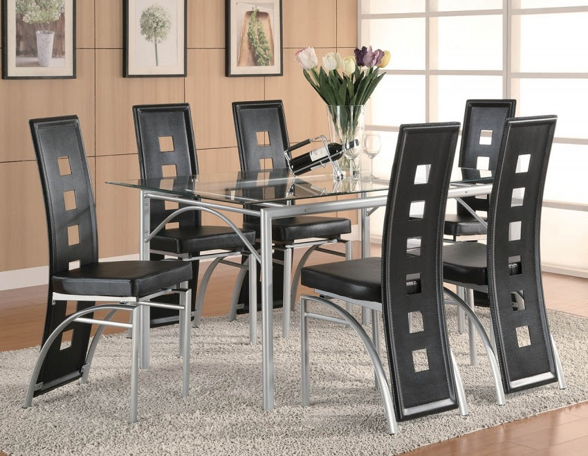 Los Feliz Collection 101681 Glass Top Modern Dining Table Set