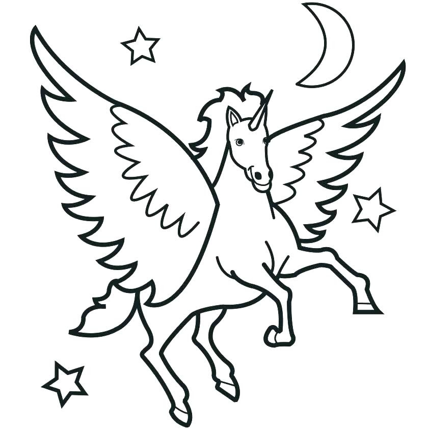 Rainbow Unicorn Coloring Pages Flying Unicorn How To Draw ...