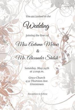 Floral Swirls   Wedding Invitation Template (free