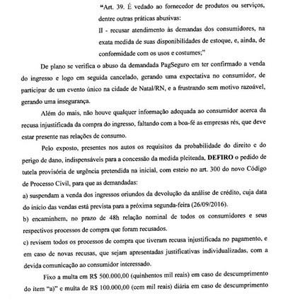 Decisão Justiça ingressos Brasil x Bolívia (Foto: Reprodução)