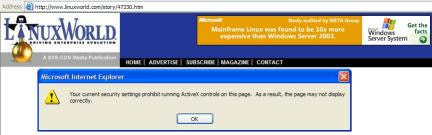 Pro-Microsoft Banner and ActiveX warning on LinuxWorld website