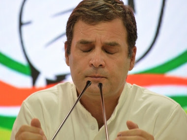Congress president Rahul Gandhi at a press conference after the party conceded defeat in the Lok Sabha elections. AFP