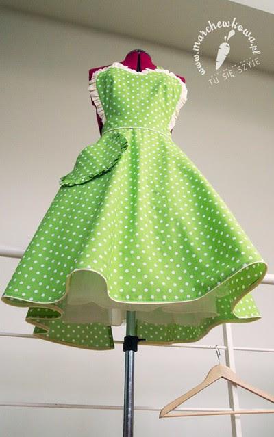 Green 50s style apron, szycie, grochy, bawełna, house of cotton, retro fartuszek, szyciowy blog roku 2012