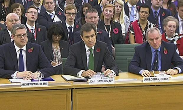 Head of MI5 Andrew Parker, Head of MI6 John Sawers and GCHQ Director Iain Lobban.