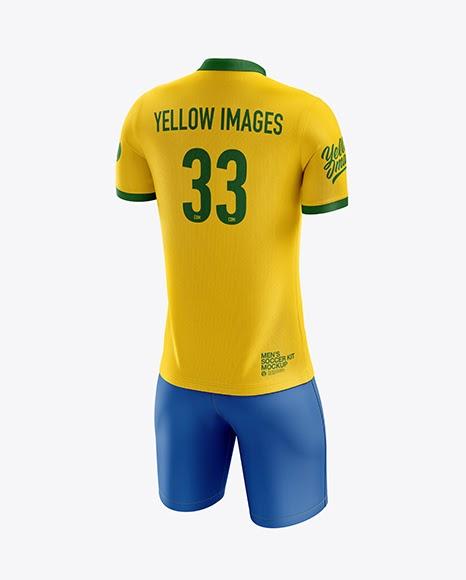 Download Mens Soccer Polo Kit (Back Half Side View) Jersey Mockup ...