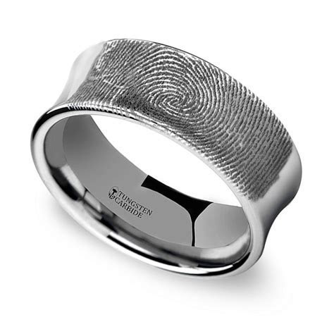 Fingerprint Engraved Men's Wedding Ring in Tungsten (8mm)