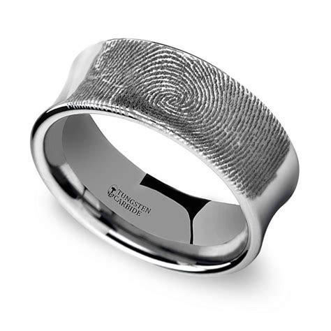 Fingerprint Engraved Men's Wedding Ring in Tungsten (8mm)