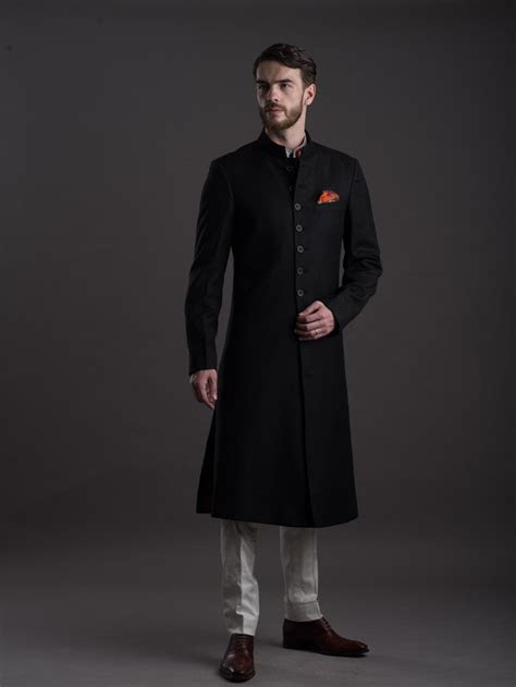 Black Midnight Achkan by Raghavendra Rathore