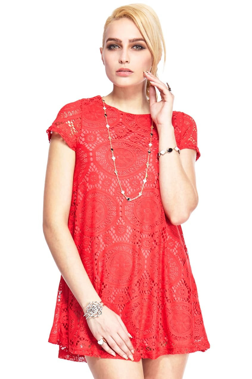 romwe lace short sleeves red dressfor womenromwe