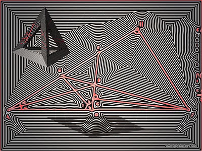 Geometric Art Isolines or Contour Lines of Problem 1153, Triangle, Angle Bisectors, Perpendicular.