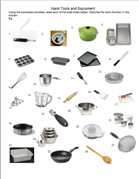 Belajar Kitchen Equipment Identification Worksheet Answers