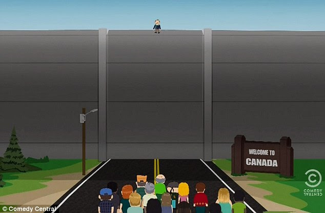 Made good on his promises: Mr Garrison pledges to build a wall between the U.S. and Canada, but upon learning that the Canadians beat him to it, he pledges to go into Canada and 'f*** them all to death' in their own country