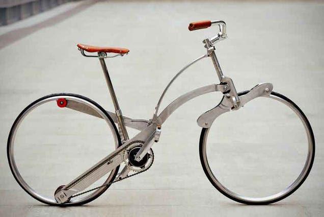 Esta bicicleta sin radios se pliega hasta el tamaño de un paraguas