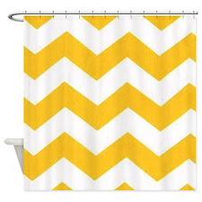 Yellow Chevron Shower Curtains | Yellow Chevron Fabric Shower