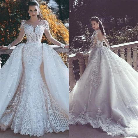 2019 Vintage Mermaid Wedding Dresses Overskirts With