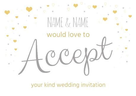 Silver and Gold Wedding Acceptance Card   Funky Pigeon