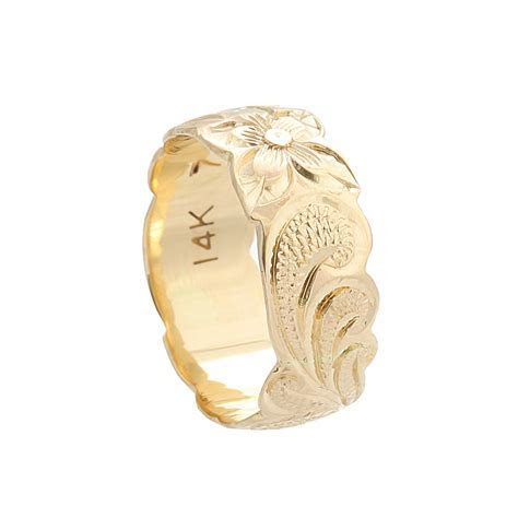 Hawaiian Jewelry 14K Yellow Gold 8mm Queen Scrolling Ring