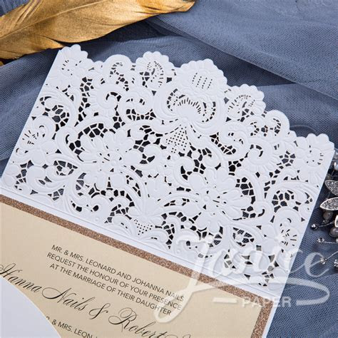 Graceful Pearl White Laser Cut Pocket Wholesale Wedding