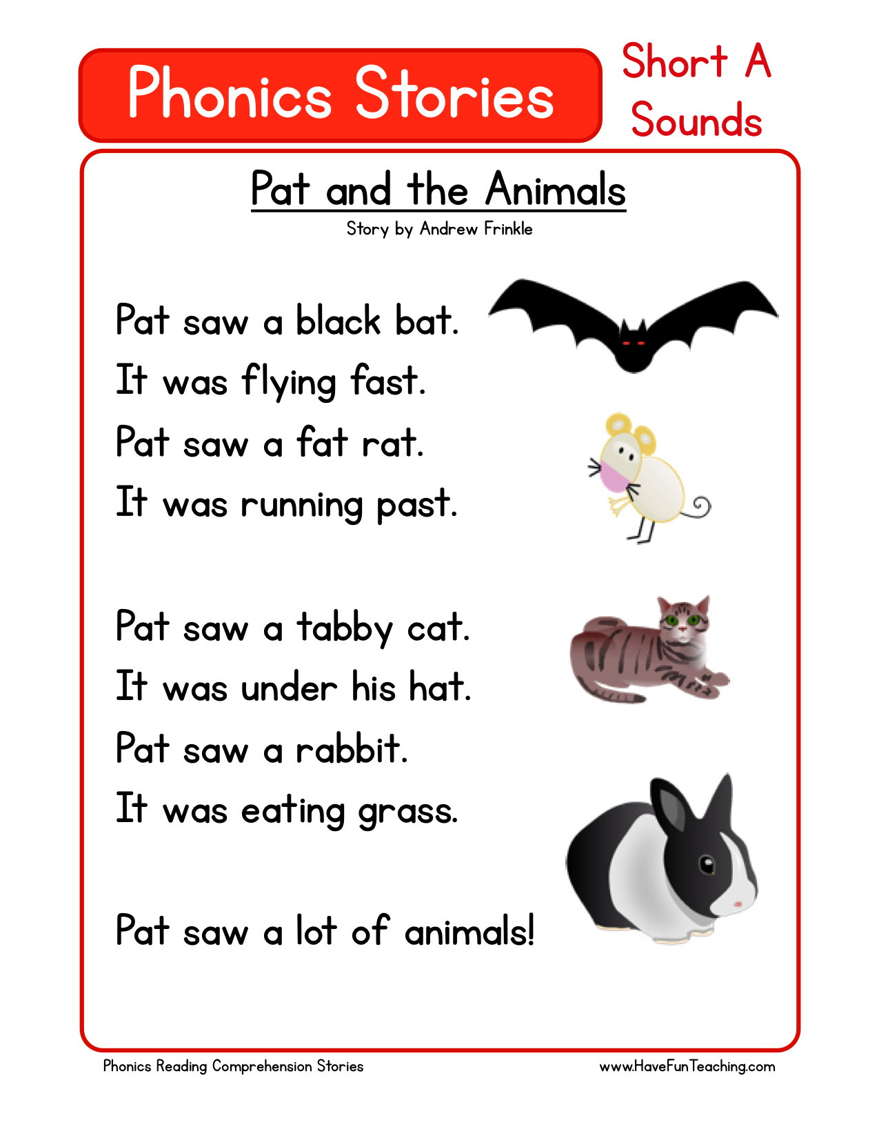 Reading Prehension Worksheet Pat And The Animals