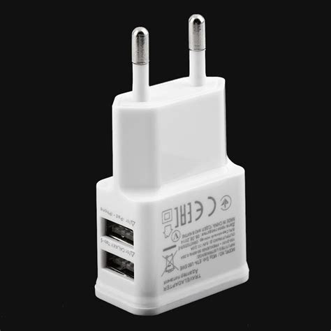 hot   dual usb port eu plug ac wall charger adapter